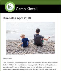 Title text: Kin-Tales April 2018. Image: Two people skipping lake rocks.
