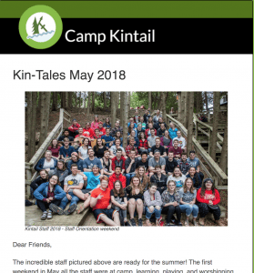 Title text: Kin-Tales May 2018. Image: Staff sitting on tiered Chapel seating.