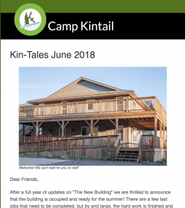 Title text: Kin-Tales June 2018. Image: Front exterior of The Nest.