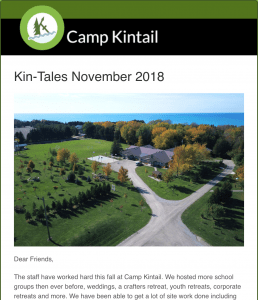 Title text: Kin-Tales November 2018. Image: Arial view of MacDonald Lodge.