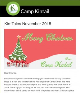 Title Text: Kin-Tales November 2018. Image: A Christmas graphic.