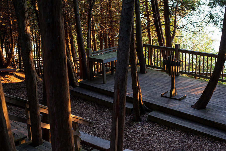 Scenic view of the stage in the outdoor Chapel overlooking Lake Huron.