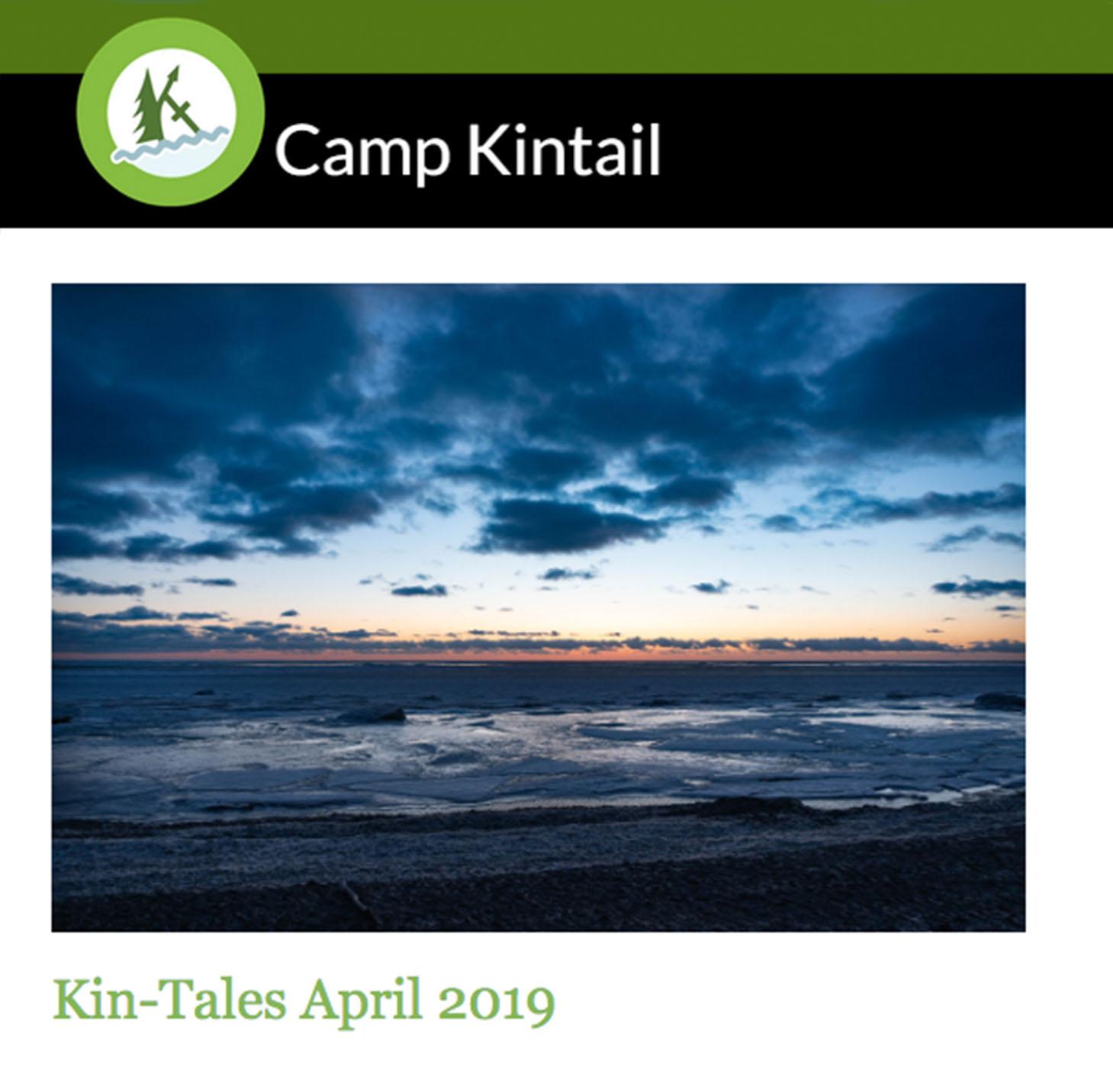Title Text: Kin-Tales April 2019. Image: Cloudy Lake Huron sunset.