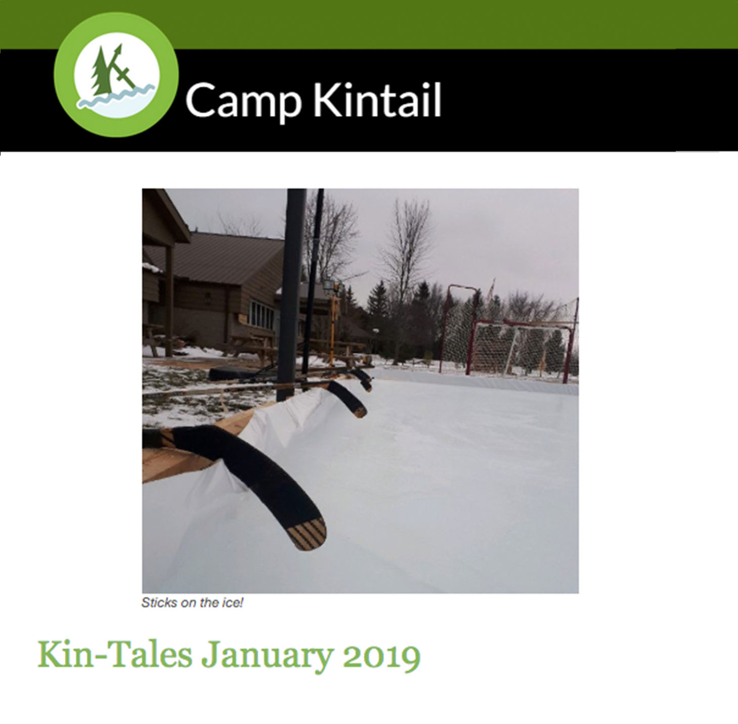 Title text: Kin-Tales January 2019. Image: Hockey sticks and outdoor ice rink.