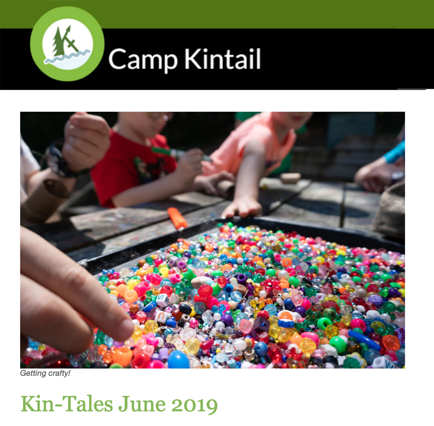 Title text: Kin-Tales June 2019. Image: Beads.