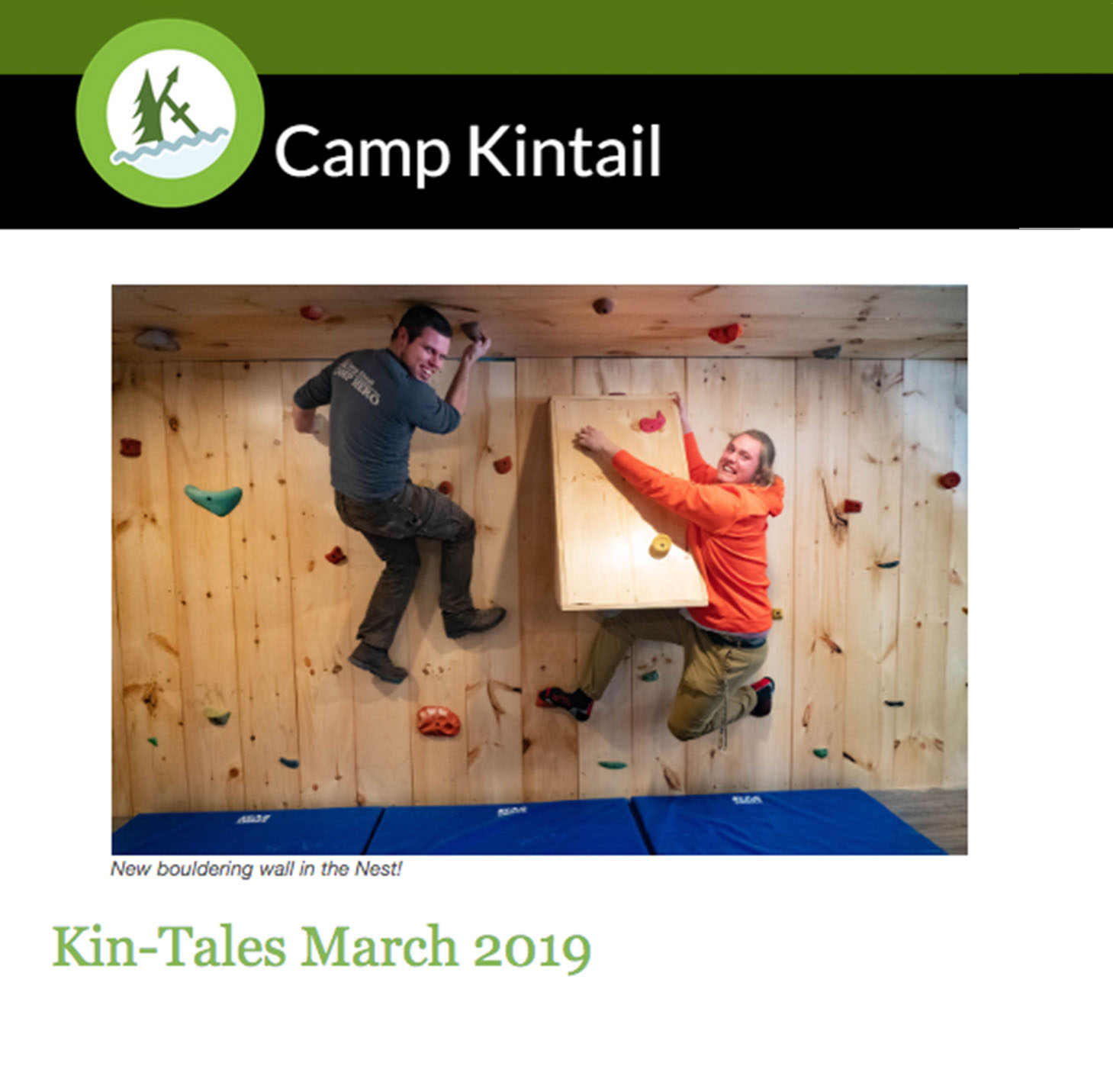 Title text: Kin-Tales March 2019. Image: Staff climbing in bouldering room.