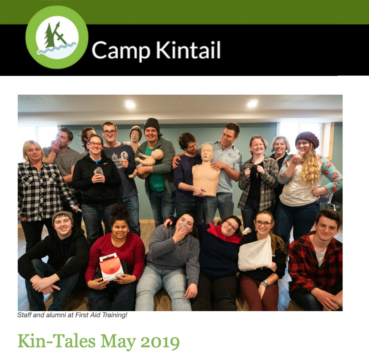 Title text: Kin-Tales May 2019. Image: Staff in Nest Basement.