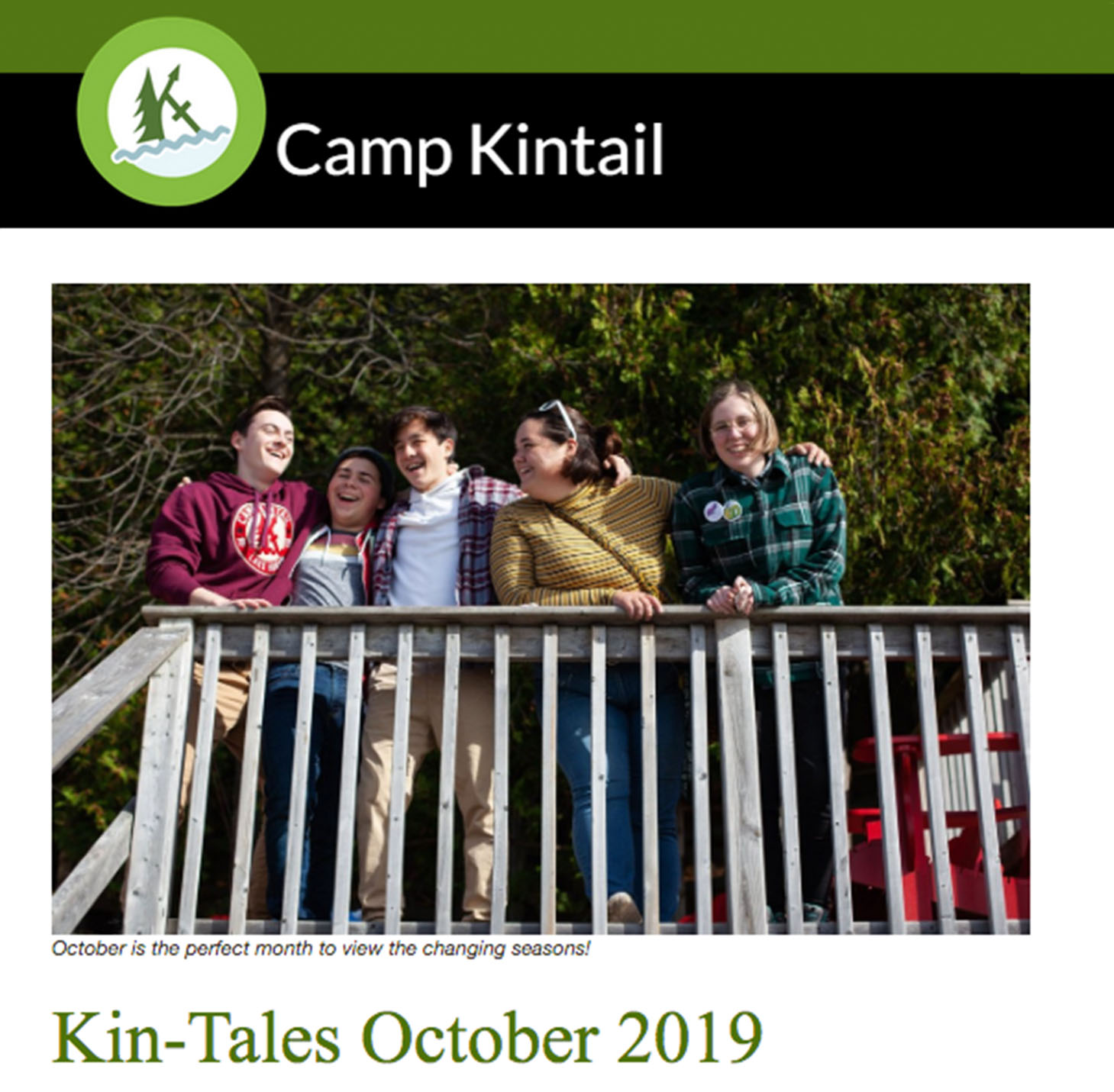 Title text: Kin-Tales October 2019. Image: Sr. High Campers on beach deck.