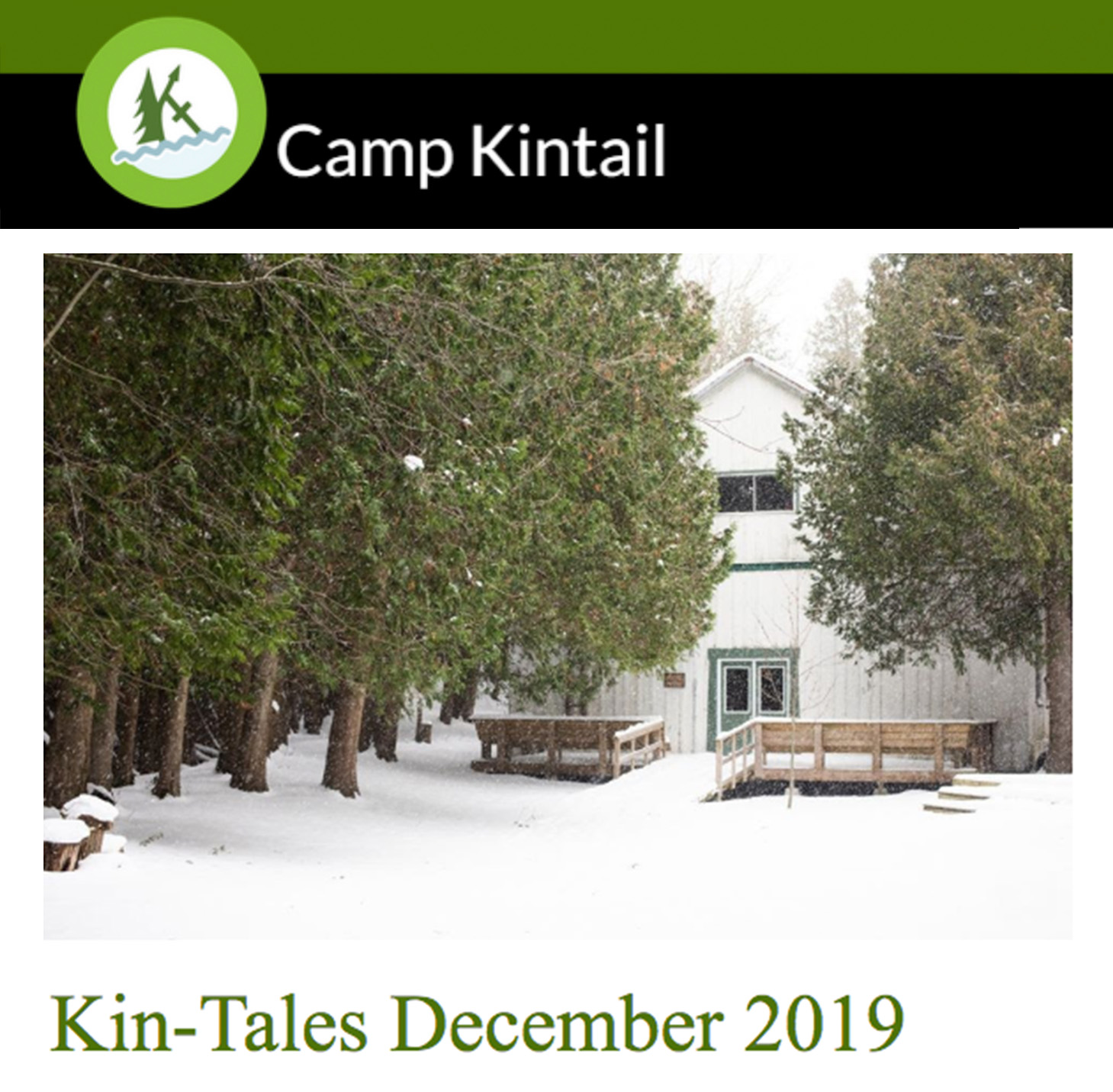 Title text: Kin-Tales December 2019. Image: Snow covered Rec Hall.