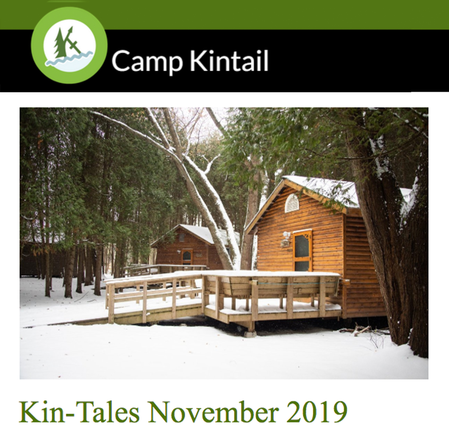 Title text: Kin-Tales November 2019. Image: Snow covered cabins.