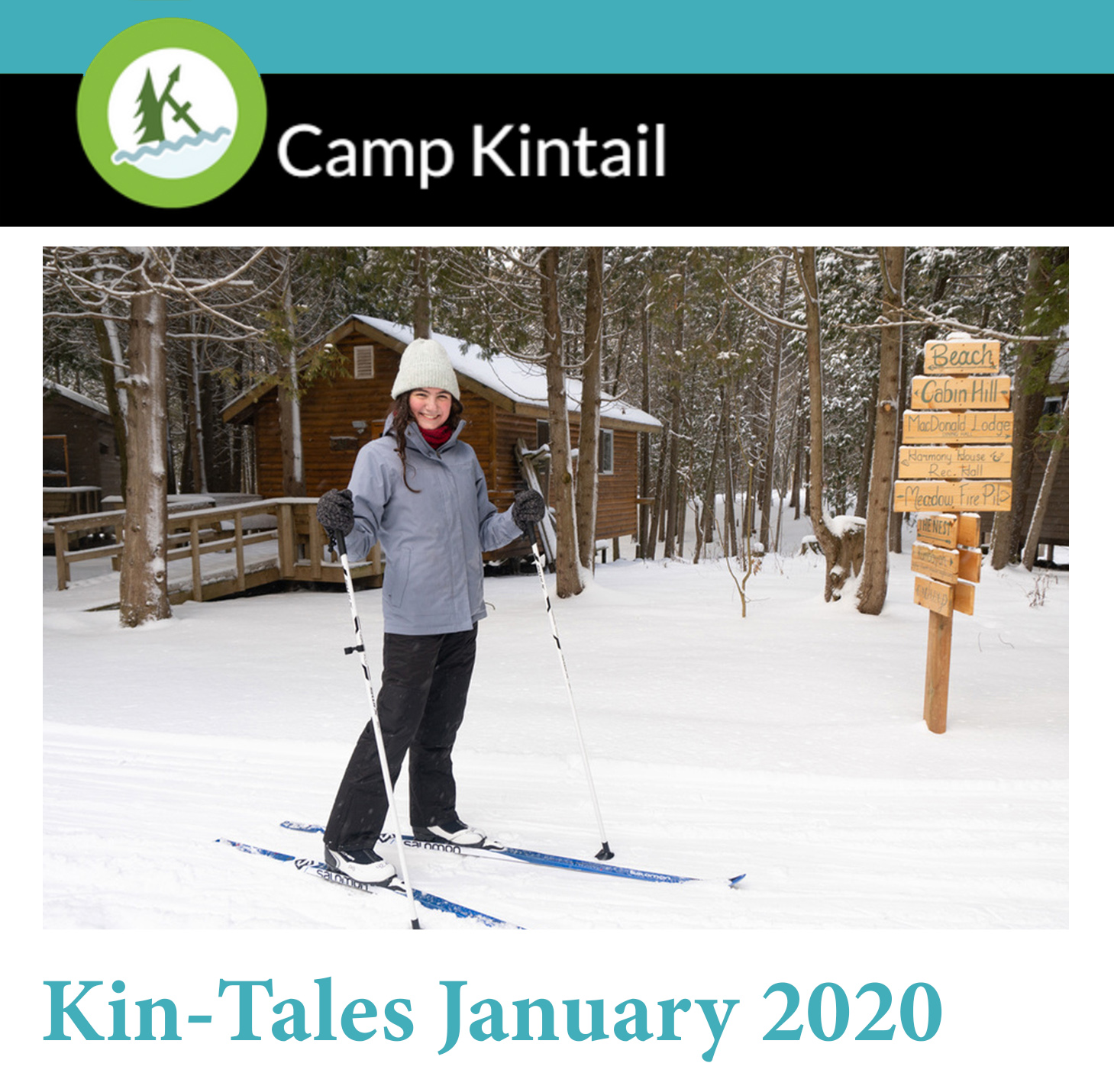 Title text: Kin-Tales January 2020. Image: Staff member skiing on cabin path.