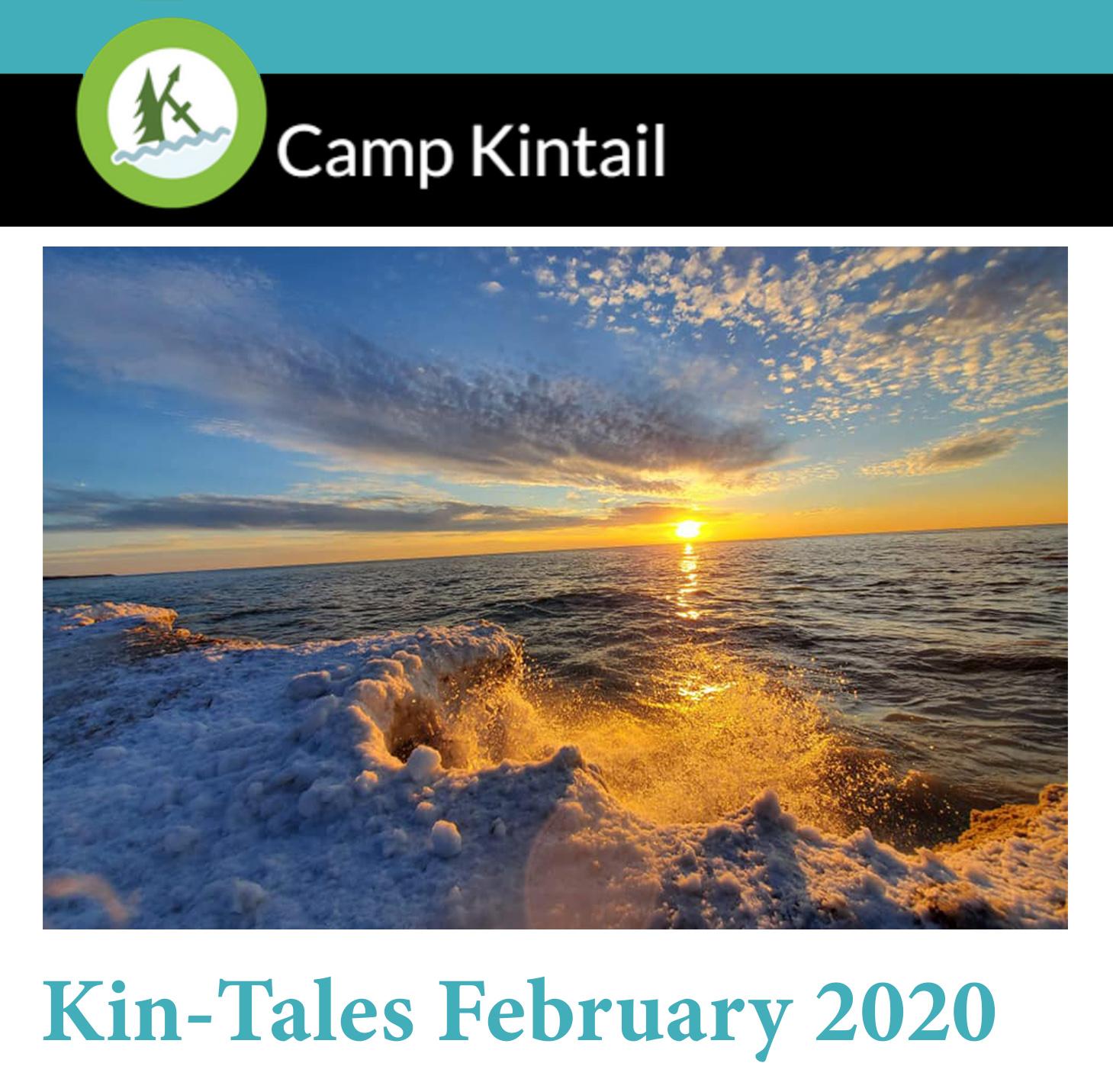 Title text: Kin-Tales February 2020. Image: Winter sunset on Lake Huron.