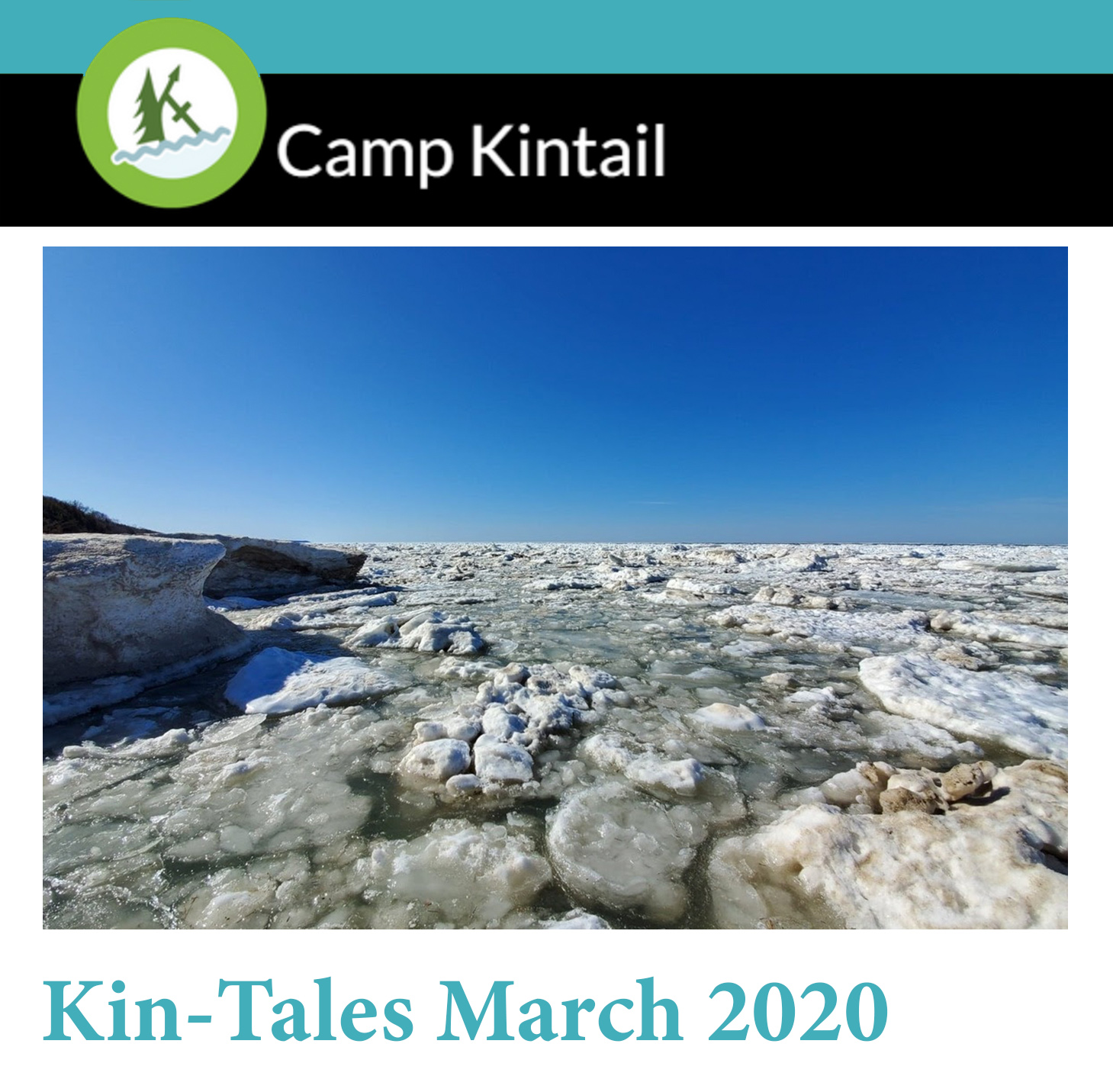 Title text: Kin-Tales March 2020. Image: Snow covered Lake Huron.