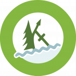 The circular Camp Kintail Logo. The border is a light green with the forest green Kintail K centred in the middle on a white background with a light blue wave below representing Lake Huron.