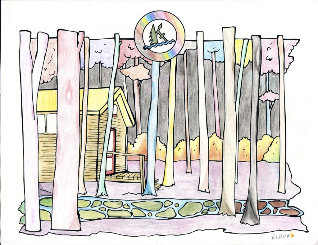 A colouring page done by Eldur of a cabin amongst the trees at Camp Kintail.