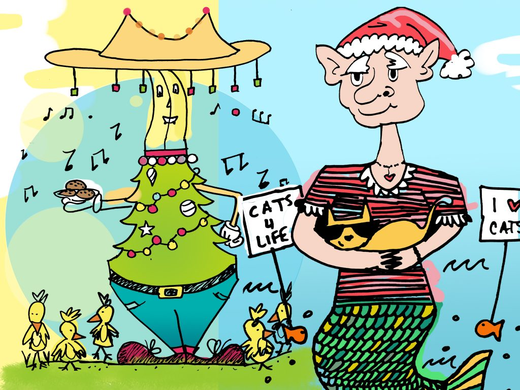 A coloured picture from the drawing activity with a banana/Christmas tree like caricature on the left and an elf/mermaid like caricature on the right.