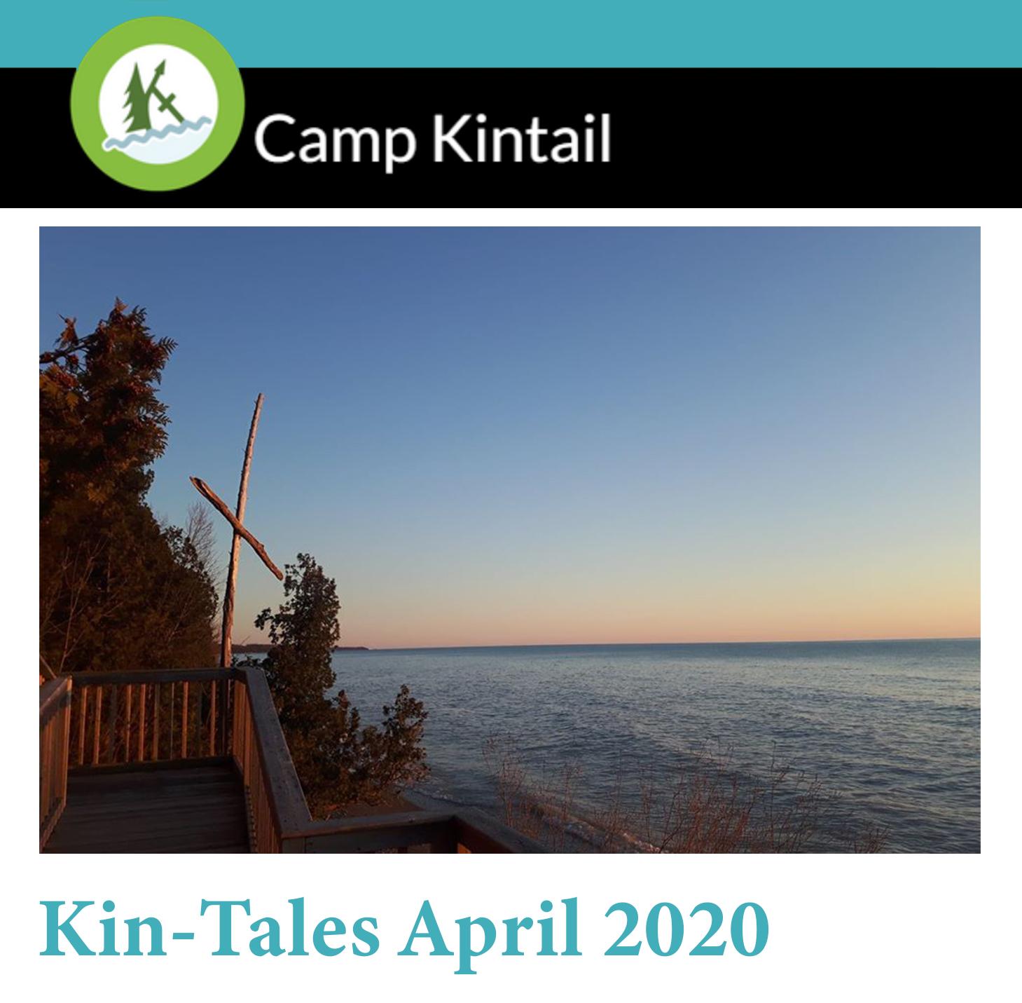 Title text: Kin-Tales April 2020. Image: Sunset on Lake Huron.