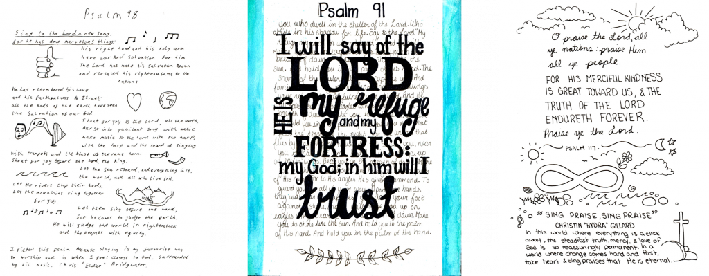 Three images of different Psalms done with different handwriting and doodles.