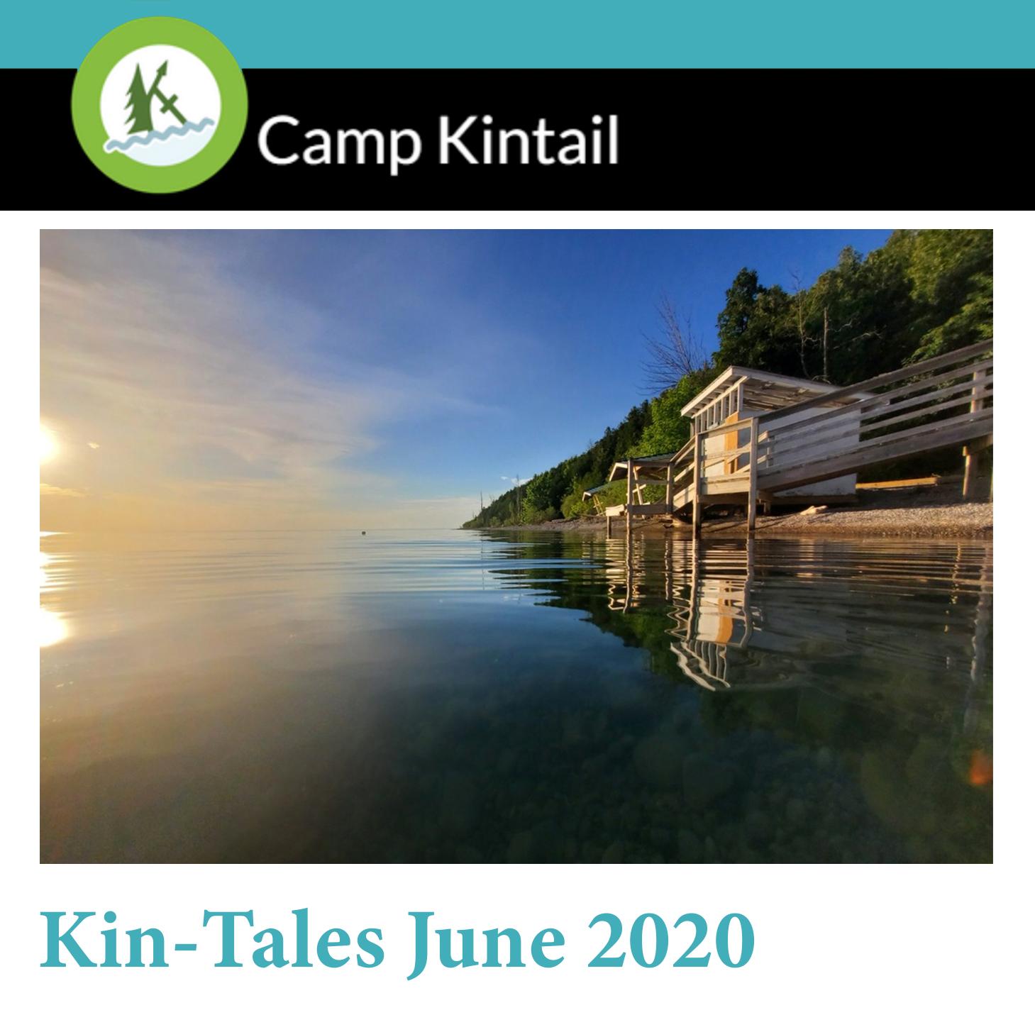 Title text: Kin-Tales June 2020. Image: Lake Huron sunset.