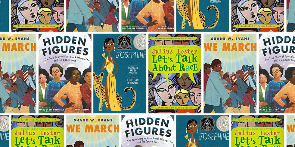 A collage of different book covers about people of colour.
