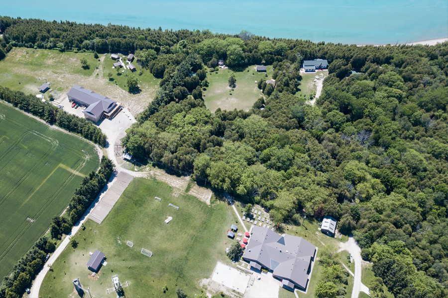 An arial view of the Camp Kintail site and Lake Huron.
