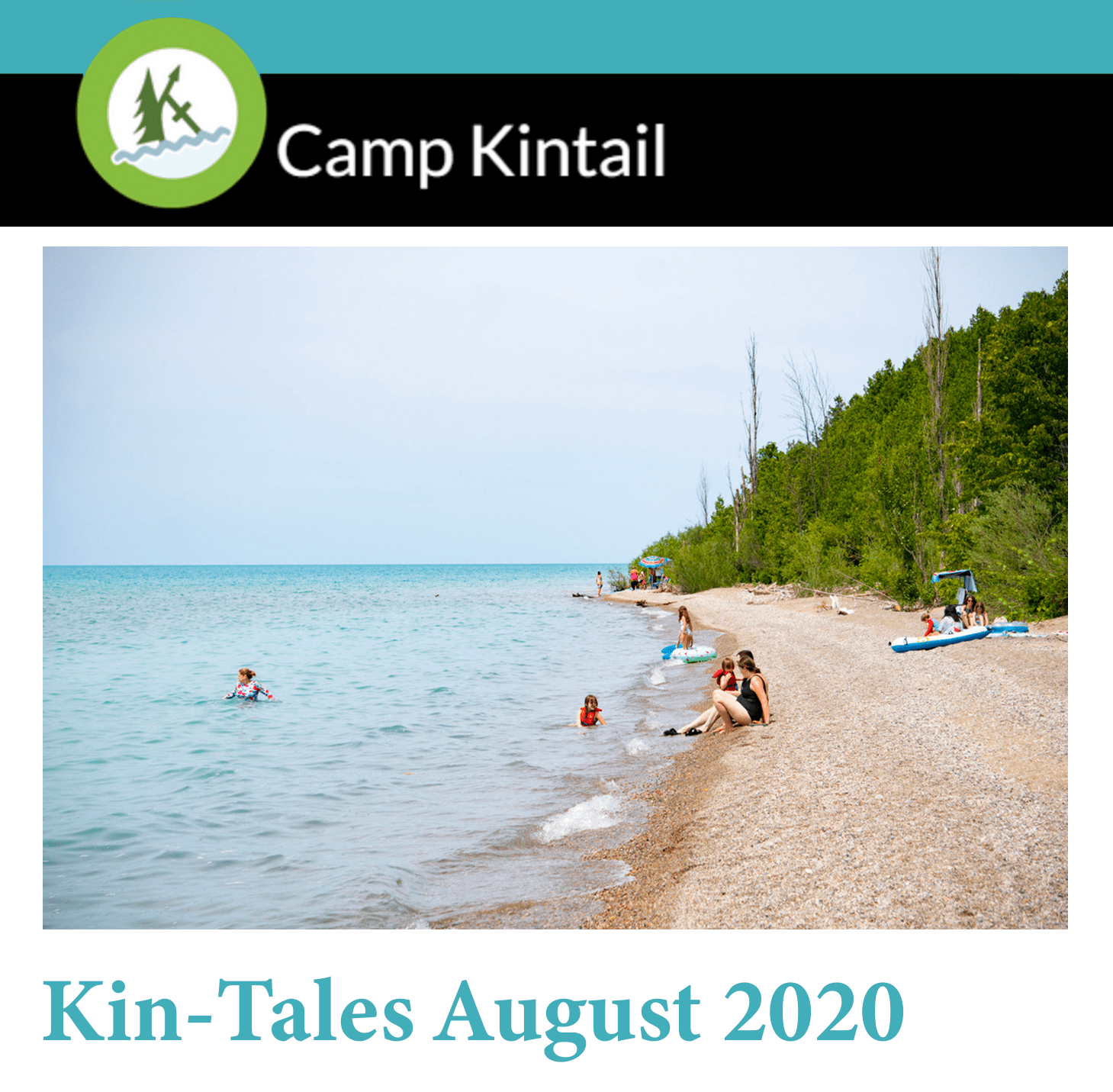 Title text: Kin-Tales August 2020. Image: Sunny beach day on Lake Huron.