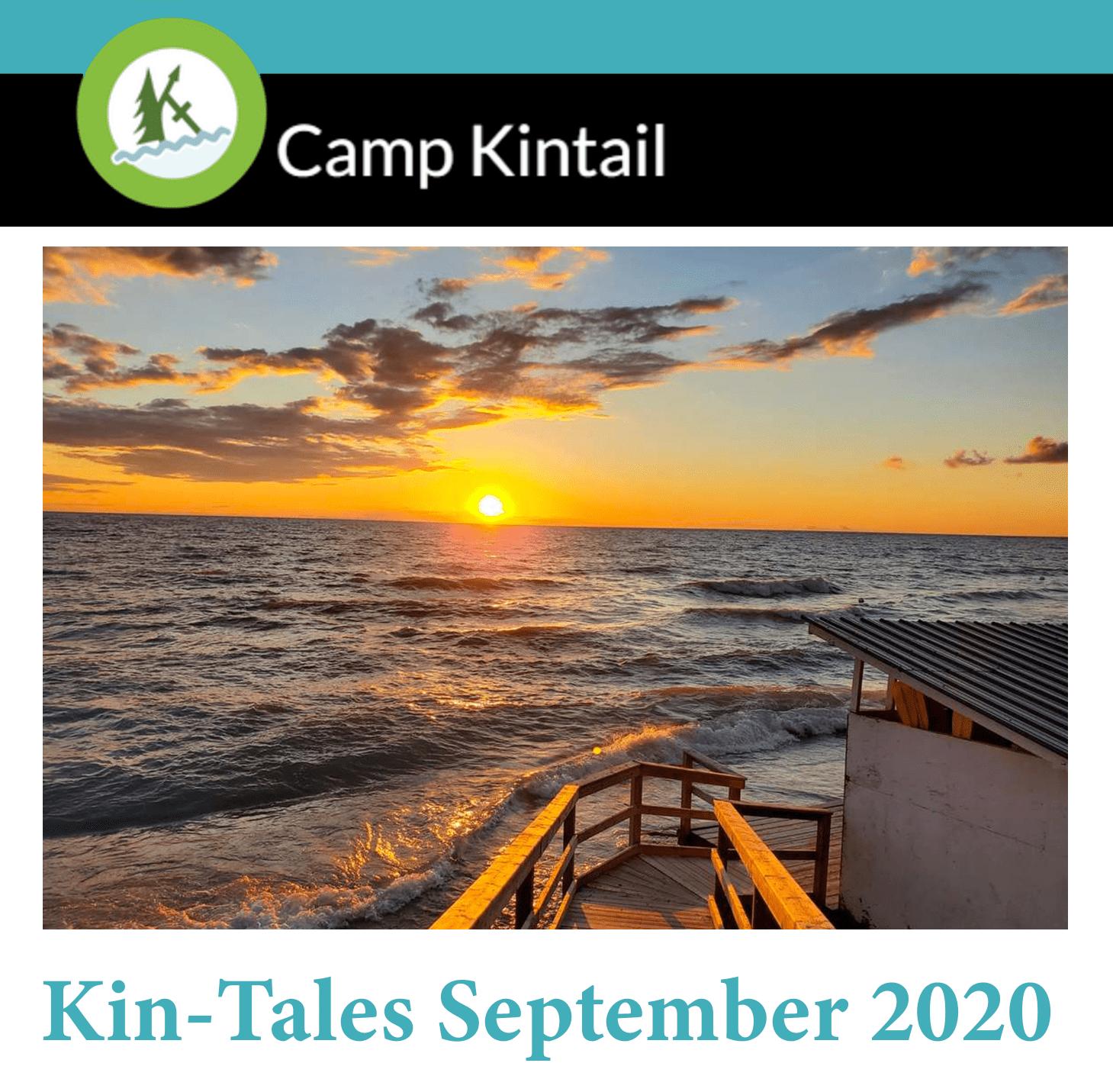 Title Text: Kin-Tales September 2020. Image: Sunset on Lake Huron.