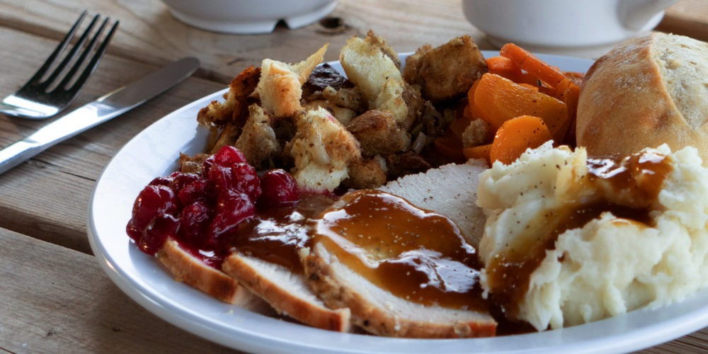 Roast turkey dinner with cranberry sauce, gravy, mashed potatoes, stuffing, carrots, and a white bun on a dinner plate set on a picnic table.