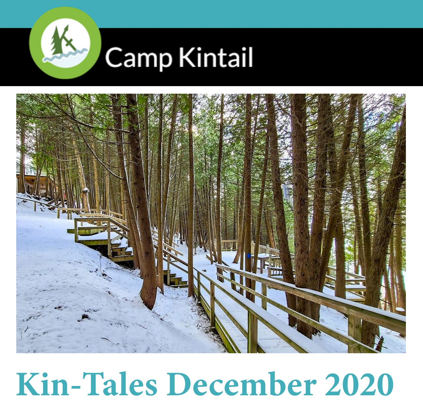 Title text: Kin-Tales December 2020. Image: Snow covered cedar forest.