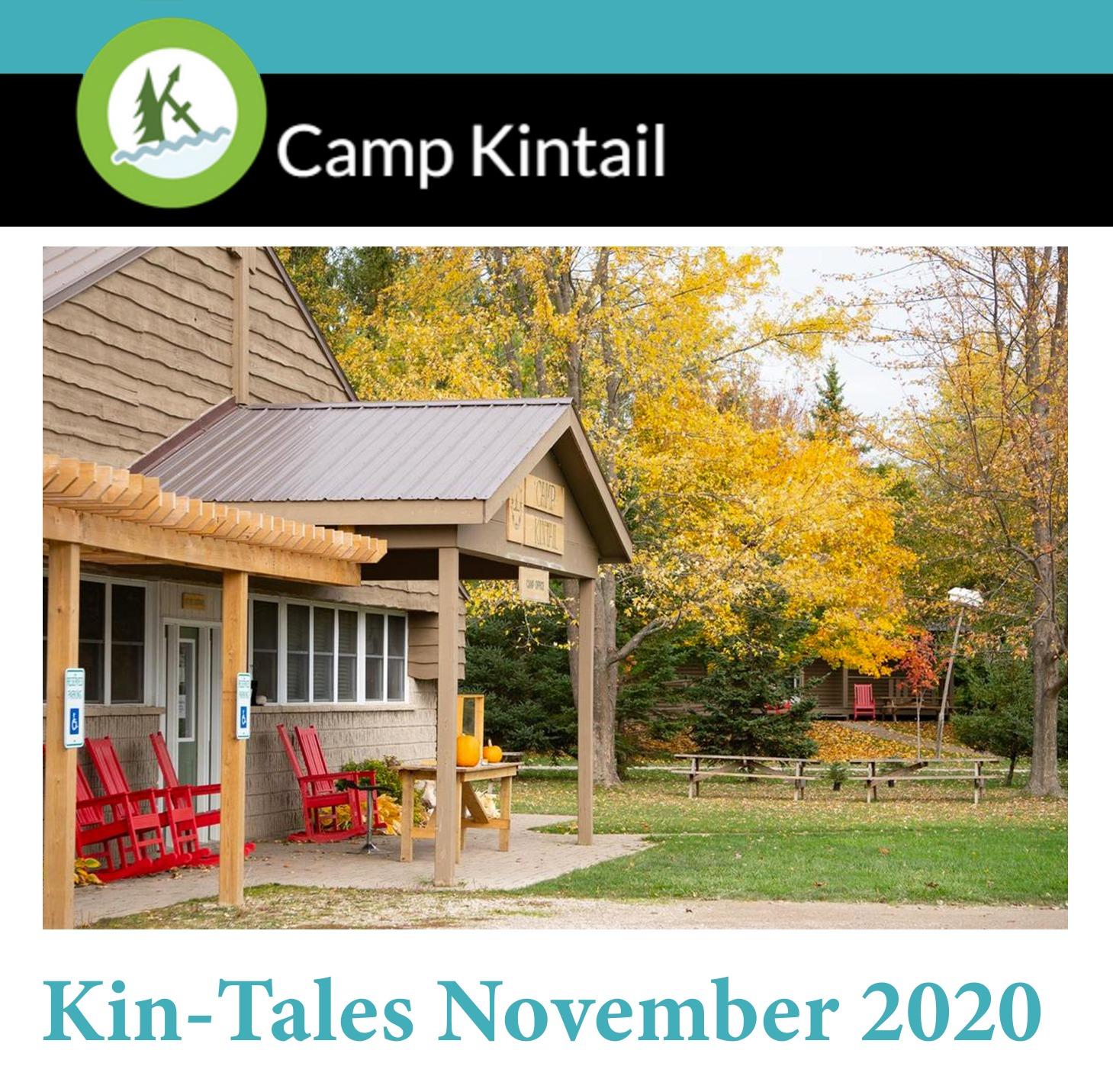 Title text: Kin-Tales November 2020. Image: Front of MacDonald Lodge.
