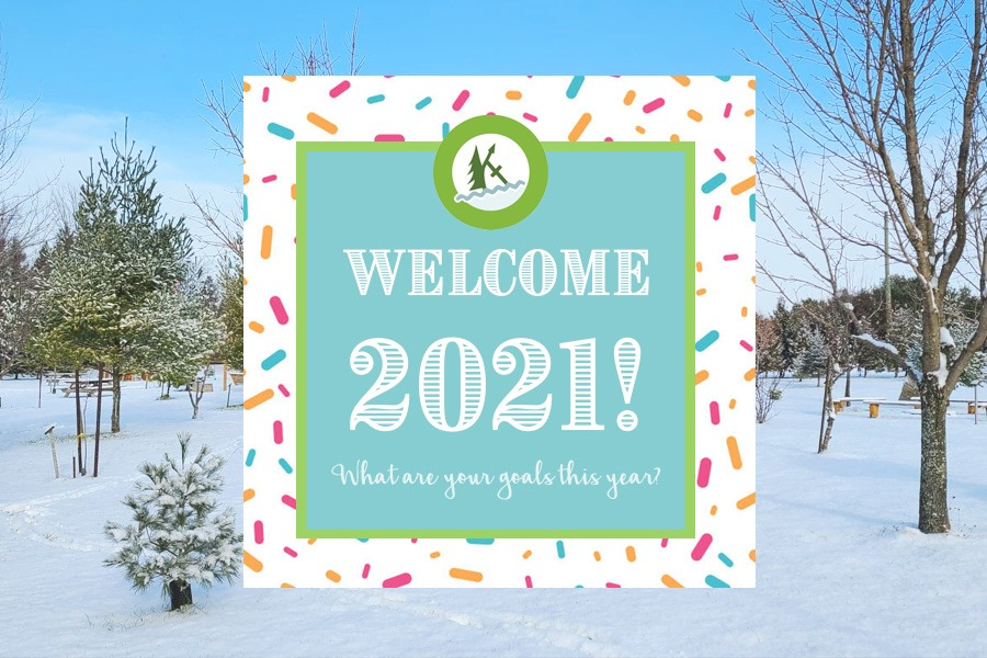 """A blue sticky note image graphic reading, """"Welcome 2021! What are your goals this year?""""."""