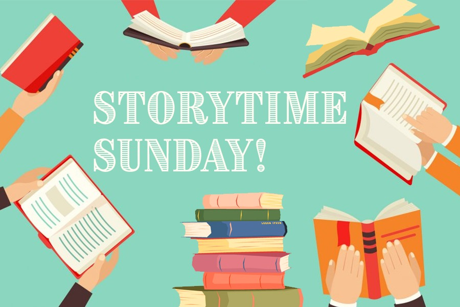 """An image graphic of a stack of books in the middle and open books around the perimeter. Text in the middle reads """"Storytime Sunday!""""."""