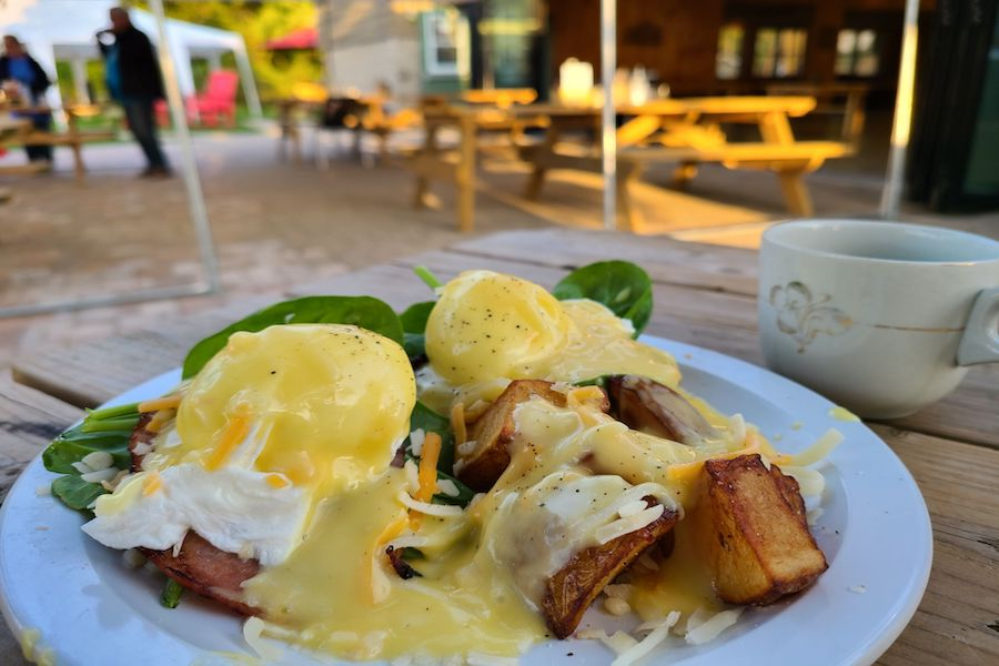 Eggs Benedict breakfast with home fries also covered in hollandaise sauce on a white plate on a picnic table outside.
