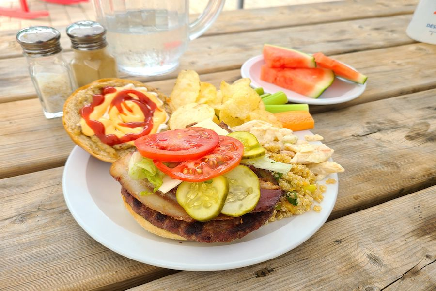 A hamburger with various toppings and sauces is on a plate with fruit and salads for sides. The plate is on a picnic table at summer camp.