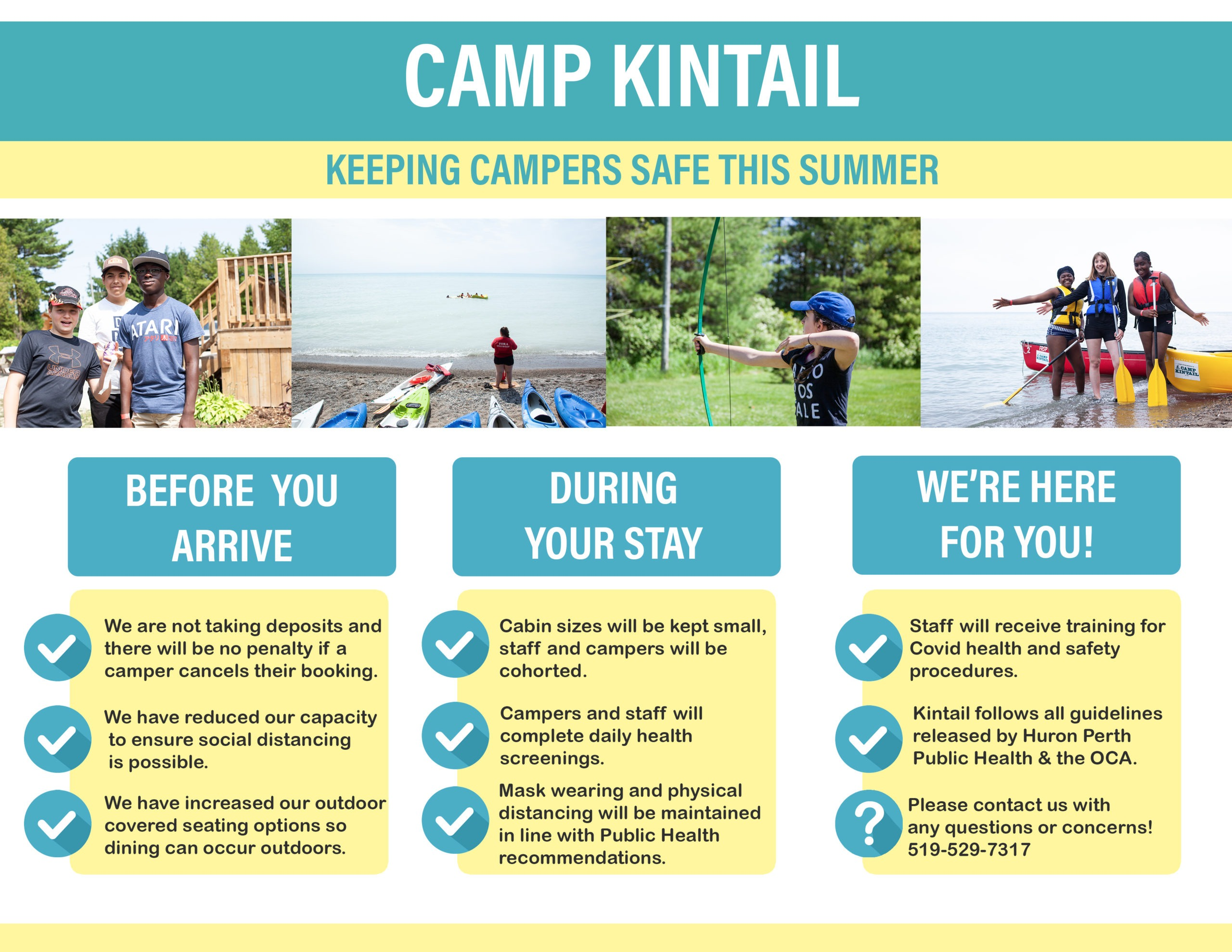 graphic detailing how Camp Kintail will keep campers safe this summer