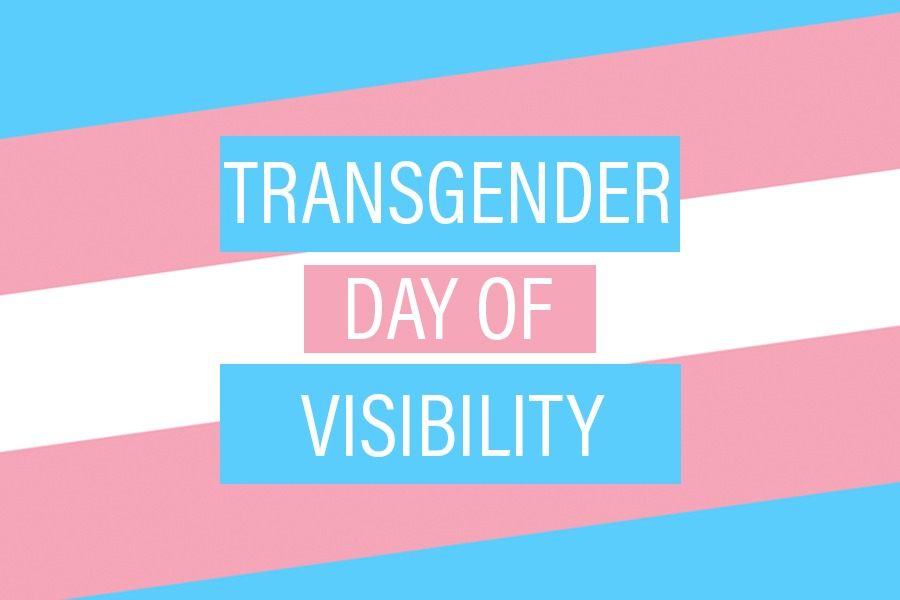 """A baby blue, light pink, and white striped image graphic reading, """"Transgender Day of Visibility""""."""