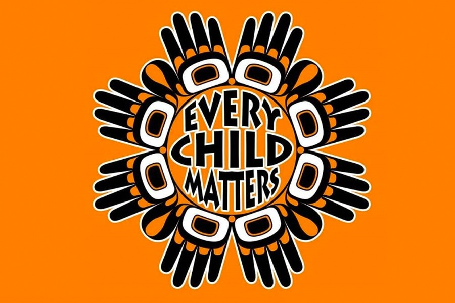 """An image graphic of an orange background with """"Every Child Matters"""" in black text in the middle. It is surrounded by hands forming a circular border around the text."""