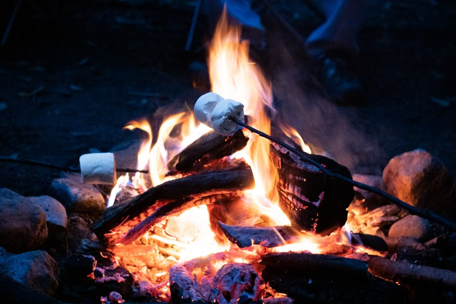 S'mores are being roasted over a campfire at night.
