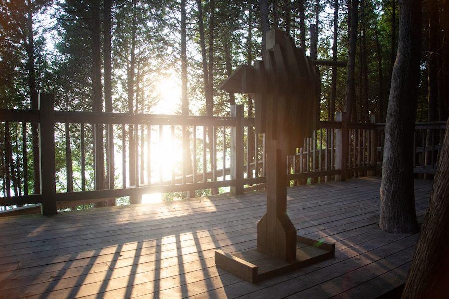 Scenic view of light shinning through cedar trees illuminating the podium on the outdoor Chapel.