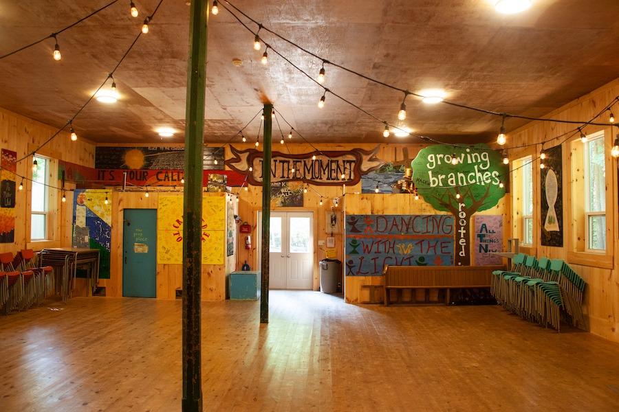 Indoor view of the Rec Hall facing towards the door.