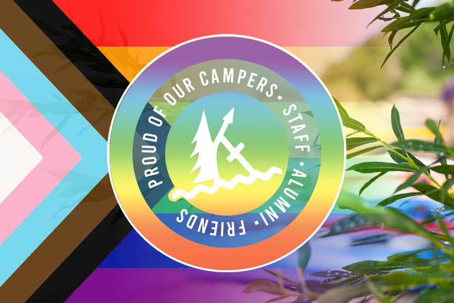 """The Progressive Pride Flag which fades from left to right into a photo of the Kintail beach from behind some foliage. In the centre is a circluar Kintail rainbow logo which reads """"proud of our campers, staff, alumni, friends"""""""