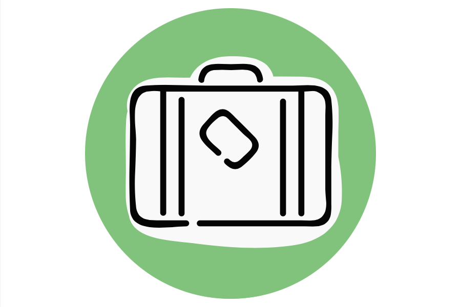 Image graphic of a suitcase on a green background.
