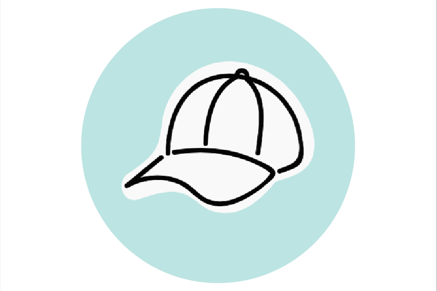 Image graphic of a baseball cap on a blue background.