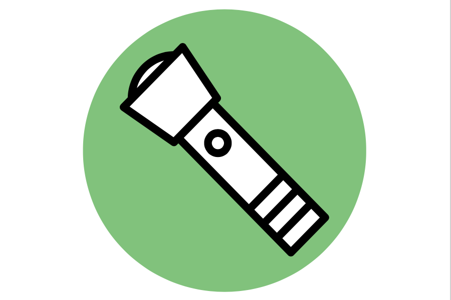 Image graphic of a flashlight on a green background.