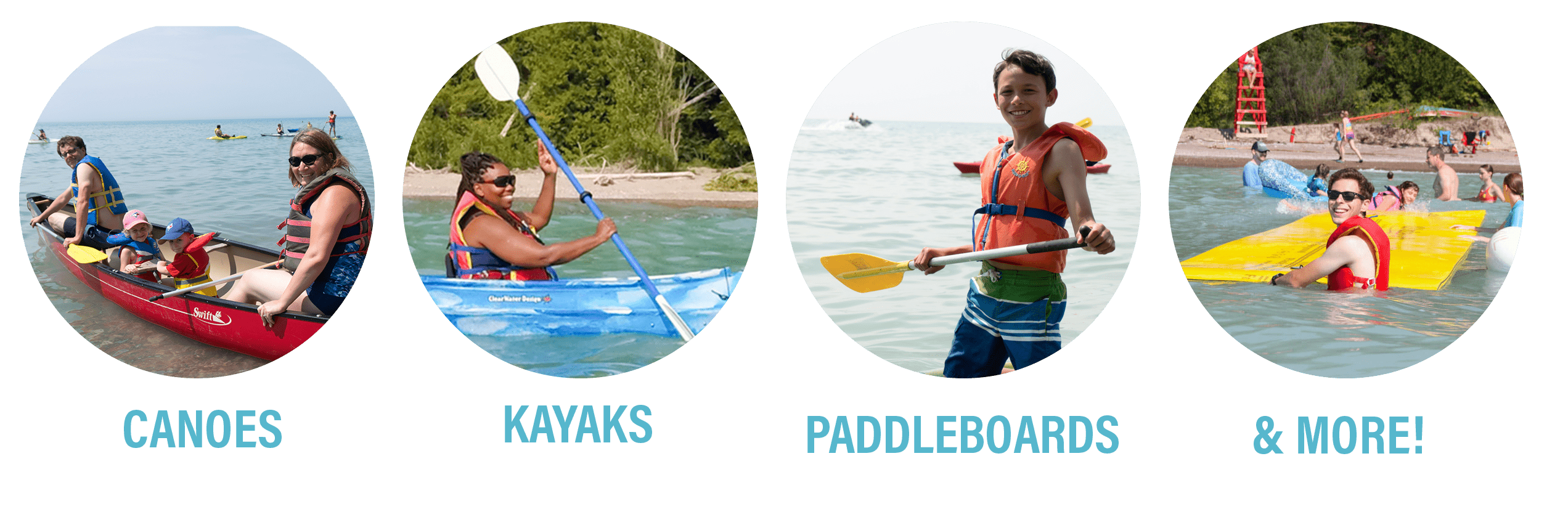 """Image of canoes, kayaks, paddleboard and the aquamat. """"Canoes, kayaks, paddleboards, and more!"""""""