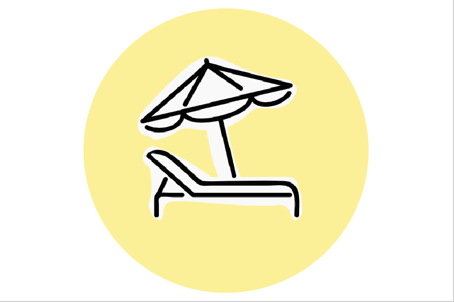 Image graphic of a beach chair and umbrella on a yellow background.