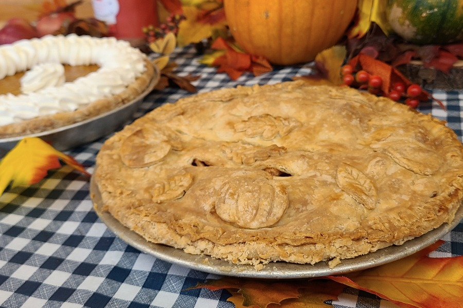 Freshly baked apple and pumpkin pie on a checkered tablecloth with fall decorations.