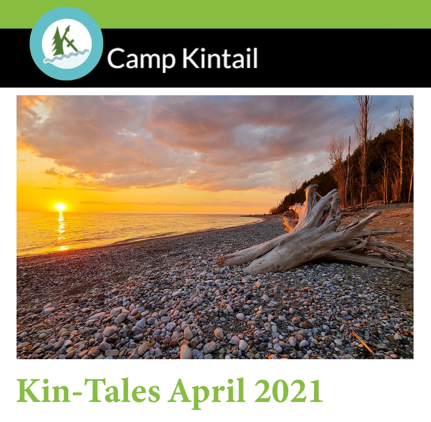 Title Text: Kin-Tales April 2021. Image: Sunset over the stones at the Kintail beach