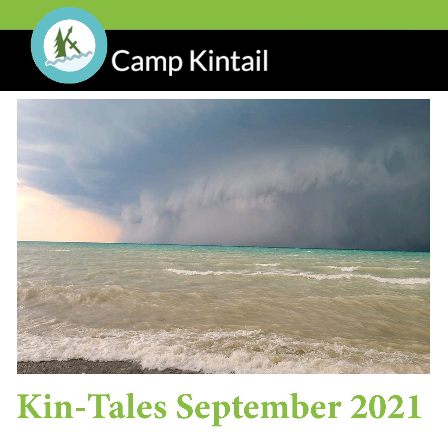 Title Text: Kin-Tales September 2021. Image: A larges storm front above the lake.