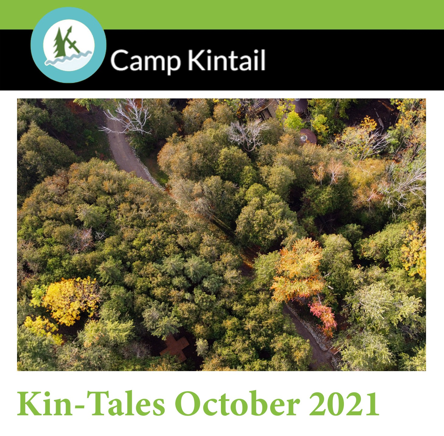 Title Text: Kin-Tales October 2021. Image: Trees views from a drone in autumn colours